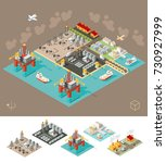 set of isometric high quality... | Shutterstock .eps vector #730927999
