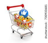 shopping carts with balls... | Shutterstock . vector #730933681