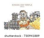 vector illustration of konark...   Shutterstock .eps vector #730941889