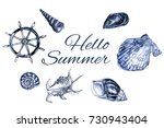 frame with seashells.... | Shutterstock . vector #730943404