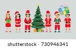 schoolboy in santa claus... | Shutterstock .eps vector #730946341