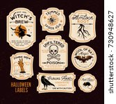Stock vector  halloween bottle labels potion labels vector illustration 730948627