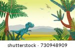 prehistoric illustration with... | Shutterstock .eps vector #730948909