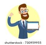 hipster businessman holding... | Shutterstock .eps vector #730959955