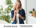 portrait of beautiful young...   Shutterstock . vector #730965394