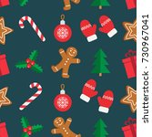 seamless pattern of christmas... | Shutterstock .eps vector #730967041