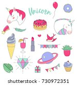 vector set of fashion stickers... | Shutterstock .eps vector #730972351