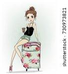 cute cartoon girl | Shutterstock .eps vector #730973821