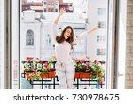 happy young girl in pajamas... | Shutterstock . vector #730978675