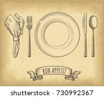 hand drawn plate  napkin  spoon ... | Shutterstock .eps vector #730992367