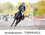 young rider man on bay horse... | Shutterstock . vector #730993921