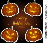 pumpkin halloween stickers | Shutterstock .eps vector #731000764