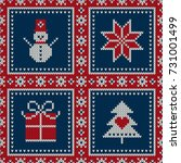 winter holiday seamless knitted ... | Shutterstock .eps vector #731001499
