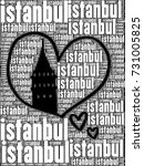 galata tower silhouette with... | Shutterstock . vector #731005825