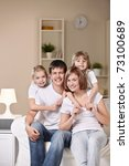 a happy family with children at ... | Shutterstock . vector #73100689