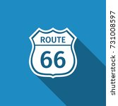 route sixty six road sign.... | Shutterstock .eps vector #731008597