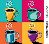 four coffee cups | Shutterstock .eps vector #7310092