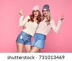 young woman blowing lips make... | Shutterstock . vector #731013469
