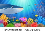 cartoon whale with coral reef... | Shutterstock .eps vector #731014291