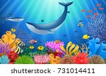 cartoon whale with coral reef... | Shutterstock .eps vector #731014411