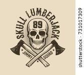 vintage monochrome lumberjack... | Shutterstock .eps vector #731017309