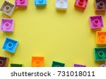 colorful designer on a yellow... | Shutterstock . vector #731018011