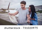 beautiful romantic couple is... | Shutterstock . vector #731020975