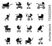 baby carriage icons set. simple ... | Shutterstock .eps vector #731023345