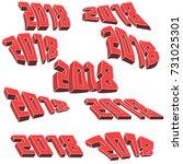 set of numbers 2018 red vector. ... | Shutterstock .eps vector #731025301