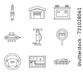 repair on the go icons set.... | Shutterstock .eps vector #731028061