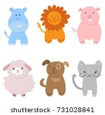 cute vector set of small baby... | Shutterstock .eps vector #731028841