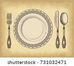 hand drawn plate spoons  forks... | Shutterstock .eps vector #731032471