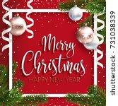 merry christmas inscription... | Shutterstock .eps vector #731038339