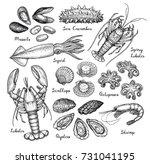 Seafood Big Set. Ink Sketch...