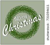 card merry christmas fir wreath ... | Shutterstock .eps vector #731054611