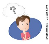 a boy thinking. a bubble with... | Shutterstock .eps vector #731055295