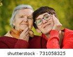 grandmother and granddaughter.... | Shutterstock . vector #731058325