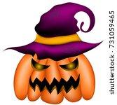 halloween symbol. evil pumpkin... | Shutterstock .eps vector #731059465