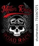 vintage biker skull emblem tee... | Shutterstock .eps vector #731067271