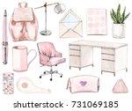 back to school set in pink.... | Shutterstock . vector #731069185