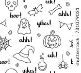 halloween words lettering and... | Shutterstock .eps vector #731079031
