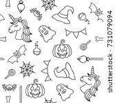 halloween things and unicorn... | Shutterstock .eps vector #731079094