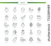 fruit thin line icons set | Shutterstock .eps vector #731089489