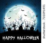 halloween background with... | Shutterstock . vector #731091451
