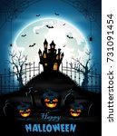 halloween background with... | Shutterstock . vector #731091454