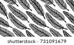 feather seamless pattern. hand... | Shutterstock .eps vector #731091679