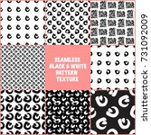 seamless patterns set. black... | Shutterstock .eps vector #731092009