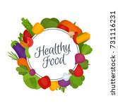 vegetables frame. healthy food. ... | Shutterstock .eps vector #731116231