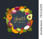 tropical fruits frame. healthy... | Shutterstock .eps vector #731116255