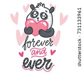 cute illustration with panda... | Shutterstock .eps vector #731133961